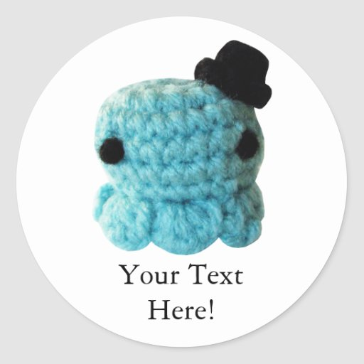 Kawaii Cute Crochet Amigurumi Octopus Top Hat Blue Round ...