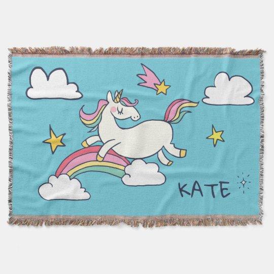 Kawaii Cute Doodle Rainbow Unicorn And Stars Throw Blanket Zazzle Magnificent Kawaii Throw Blanket