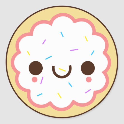 kawaii cute frosted sugar cookie Sticker | Zazzle