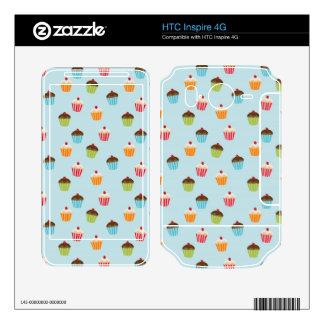 Kawaii cute girly cupcake cupcakes foodie pattern HTC inspire 4G decal