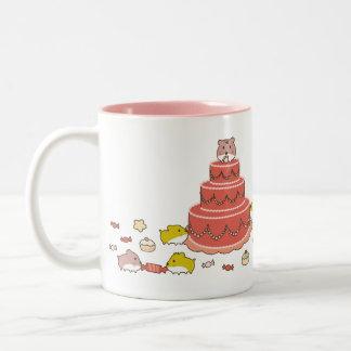 kawaii cute hamsters on a cake Two-Tone coffee mug