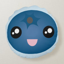Kawaii Cute Happy Face Blue Berry Emoji Round Pillow