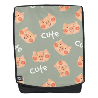 Kawaii Cute Happy Little Piggy. Backpack