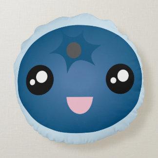 Kawaii Cute Happy Smiley Face Blue Berry Emoji Round Pillow