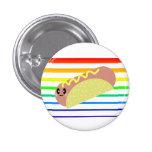 Kawaii Cute HotDog Rainbow Stripes Pin Button