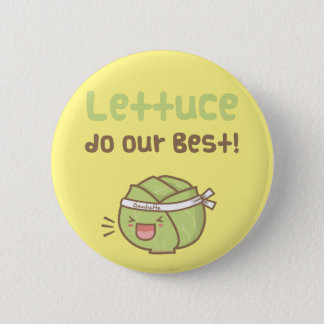 Kawaii Cute Lettuce Do Our Best Food Pun Humor Button