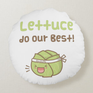 Kawaii Cute Lettuce Do Our Best Food Pun Humor Round Pillow