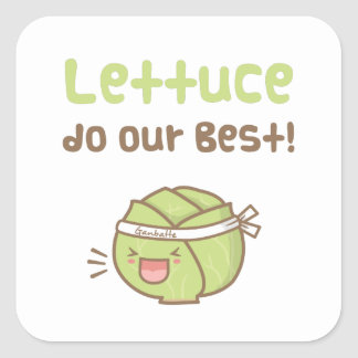 Kawaii Cute Lettuce Do Our Best Food Pun Humor Square Sticker