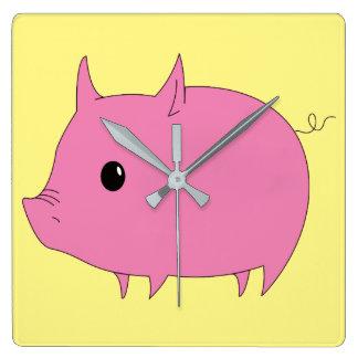 Kawaii Cute Little Pink Piggy Square Wall Clock