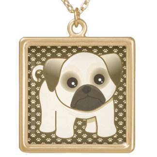 Kawaii Cute Little Pug Puppy Dog Cartoon Animal Gold Plated Necklace
