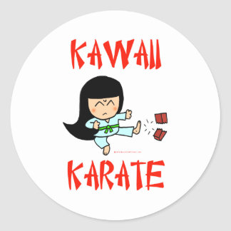 kawaii cute martial arts chibi karate two classic round sticker
