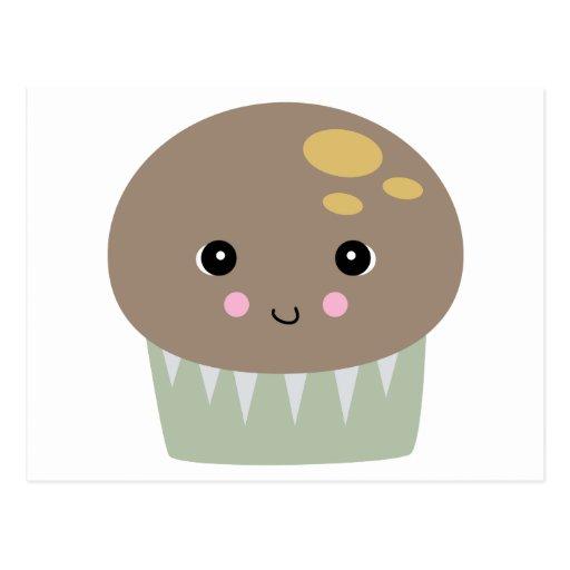 kawaii cute muffin postcard