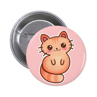Kawaii Cute Orange Cat Illustration Button