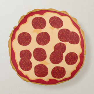Kawaii Cute Pepperoni Pizza for the Nerd Geeks Round Pillow