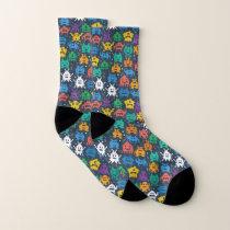 Kawaii Cute Pixel Monster Party Pattern. Socks