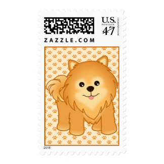 Kawaii Cute Pomeranian Puppy Dog Cartoon Animal Postage