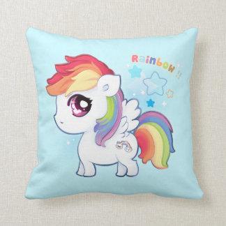 Kawaii cute rainbow pony with sparkle stars pillow