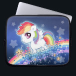 "Kawaii cute rainbow pony with star galaxy laptop sleeve<br><div class=""desc"">This design features a cute little pony with sparkle stars on blue galaxy background. Designed by ChibiBunny.</div>"
