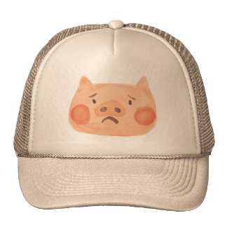 Kawaii Cute Sad Little Piggy. Trucker Hat