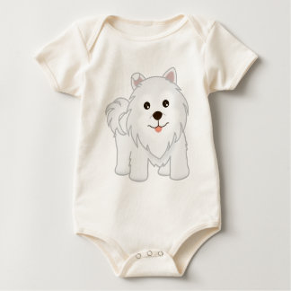 Kawaii Cute Samoyed Puppy Dog Cartoon Animal Baby Bodysuit