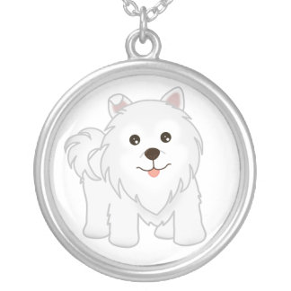 Kawaii Cute Samoyed Puppy Dog Cartoon Animal Silver Plated Necklace
