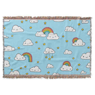 Kawaii Cute Stars Clouds and Rainbows Throw Blanket