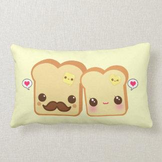 Kawaii cute toasts couple lumbar pillow