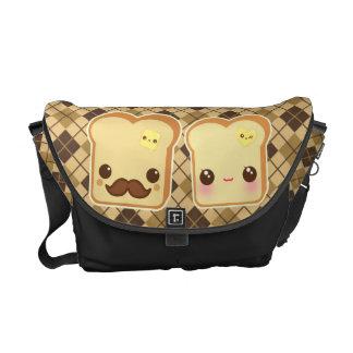 Kawaii cute toasts couple on brown & beige argyle messenger bags
