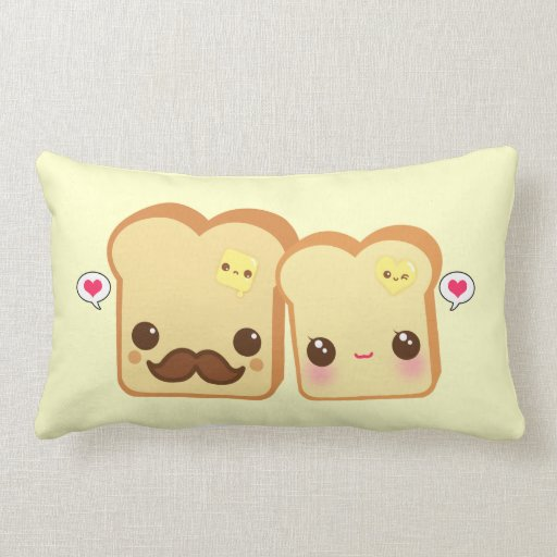 Cute Pillows For Couples : Kawaii cute toasts couple pillow Zazzle