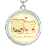 Kawaii cute toasts couple round pendant necklace