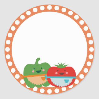 kawaii cute vegetables baking bakery gift tag stic classic round sticker