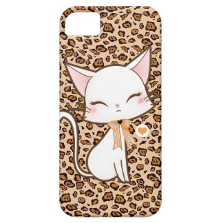 Kawaii cute white cat on leopard print background iPhone 5 case