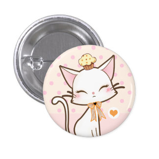 Kawaii cute white cat with cupcake button