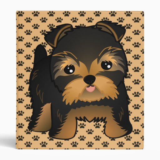 Kawaii Cute Yorkshire Terrier Puppy Dog 3 Ring Binders