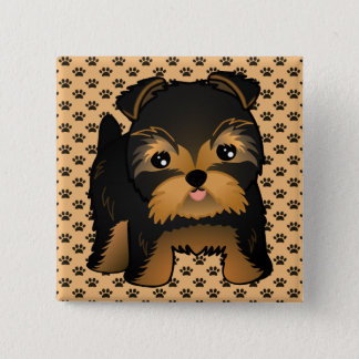 Kawaii Cute Yorkshire Terrier Puppy Dog Button