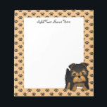 """Kawaii Cute Yorkshire Terrier Puppy Dog Notepad<br><div class=""""desc"""">A fun little kawaii style Yorkshire Terrier puppy dog cartoon animal. This cute little character has a chubby face and body. He has a typical Yorkie black and tan coat with whiskers around his happy face. His little ears have flopped over and he has a little stubby tail.</div>"""