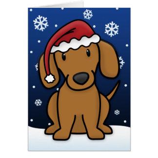 Kawaii Dachshund Christmas Card (Red)