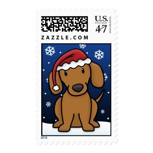 Kawaii Dachshund Christmas Postage Stamps (Red)