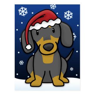 Kawaii Dachshund Christmas Postcard