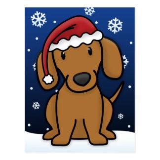 Kawaii Dachshund Christmas Postcard (Red)