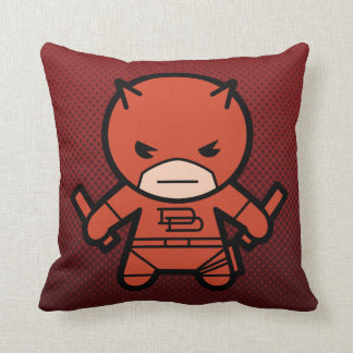 Kawaii Daredevil With Paired Short Sticks Throw Pillow