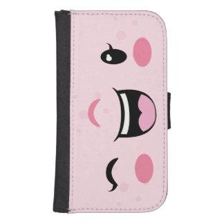Kawaii de guiño rosado hace frente a la caja de la billetera para teléfono