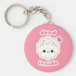 Kawaii Dead Inside Cookie Keychain