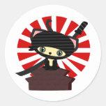 kawaii del gato del ninja etiquetas redondas