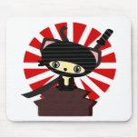 kawaii del gato del ninja tapete de ratón