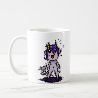 Kawaii demon taza básica blanca