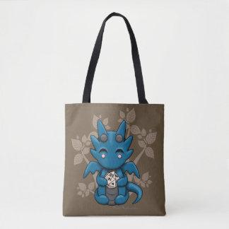 Kawaii Dice Dragon Canvas Tote Bag