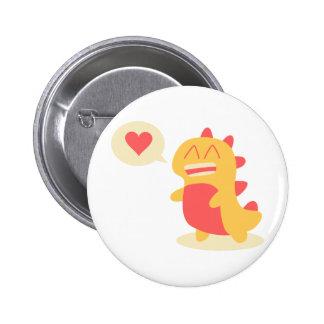 Kawaii Dino sonriente que habla de amor Pin Redondo De 2 Pulgadas