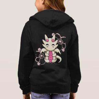 Kawaii Dragon Pink Flowers Girl's Zip Up Hoodie