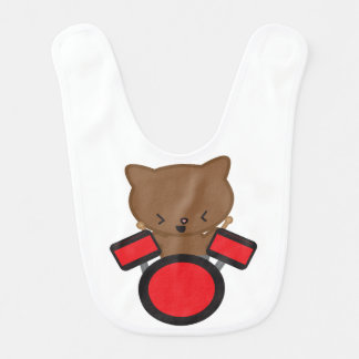 Kawaii Drummer Cat Baby Bib